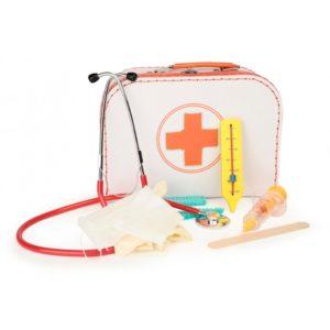 Retro læge kuffert med udstyr fra Egmont tons